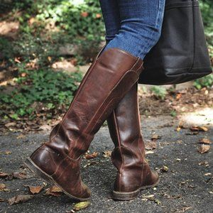 Frye Paige Riding Boots Brown Flat 6.5